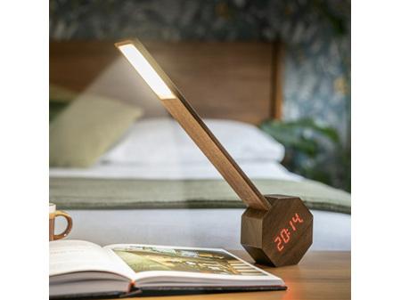 Gingko Octagon One Plus Desk Light Clock American Walnut