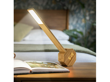 Gingko Octagon One Plus Desk Light Clock Japanese Bamboo