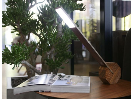 Gingko Octagon One Portable Desk Light Walnut