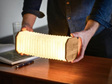 Gingko Smart Accordion Lamp Small Walnut