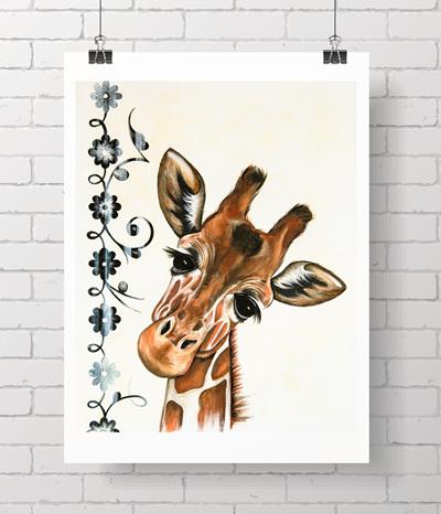 giraffe with flowers