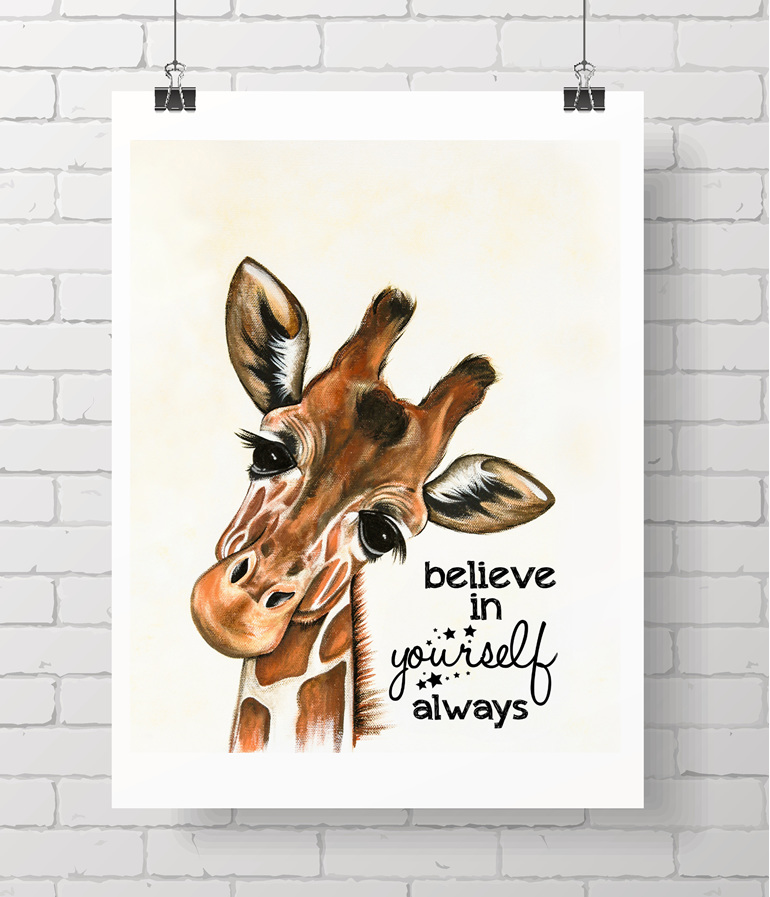 giraffe with quote - on A3