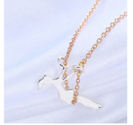 Girl on Swing Necklace - Silver Girl