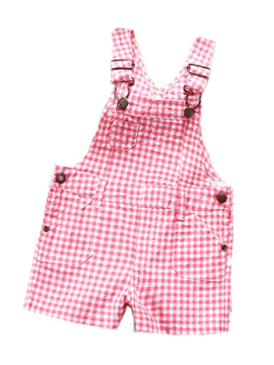 Girls Pink checker dungarees