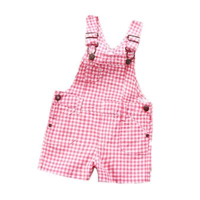 Girls Pink checker dungarees