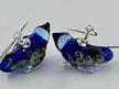 Glass bird earrings - cobalt