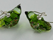 Glass bird earrings - grass green dark