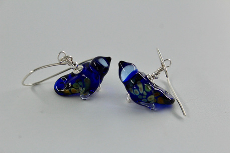 Glass bird earrings - Cobalt
