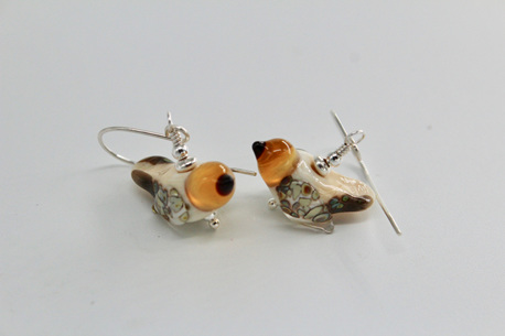 Glass bird earrings - Ivory