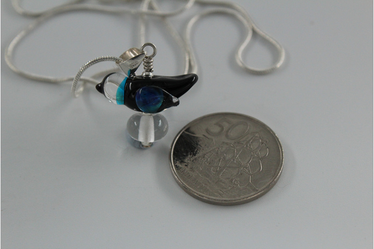 Glass bird pendant - Black and blue with NZ 50 cent piece for size reference