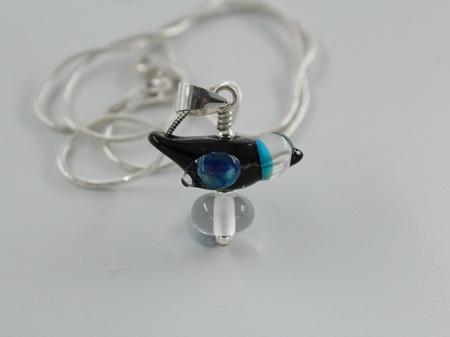 Glass bird pendant - black elektra