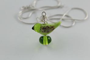 Glass bird pendant - green