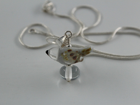 Glass bird pendant - grey