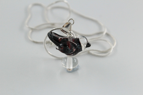 Glass bird pendant - black/Dichro