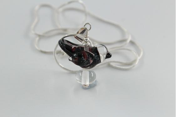 Glass bird pendant necklace - Black Dichroic