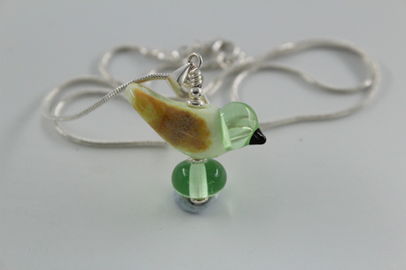 Glass bird pendant - Pale Green