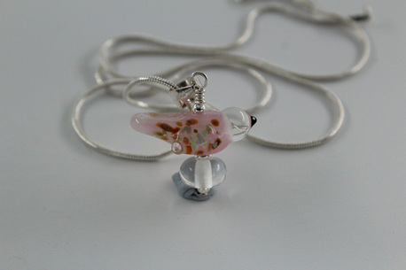 Glass bird pendant - pink opalino