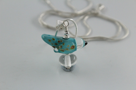 Glass bird pendant - sky blue