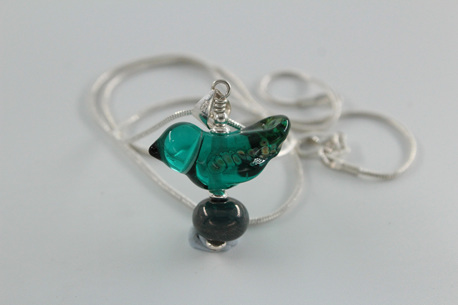 Glass bird pendant - teal