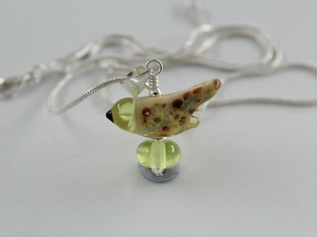 Glass bird pendant - yellow opal  & pale green