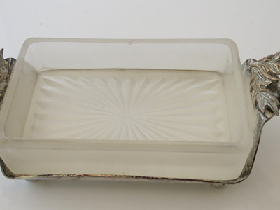 Glass dish on thistles stand