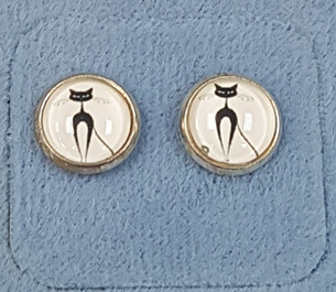 Glass Dome Earring - Black Cats