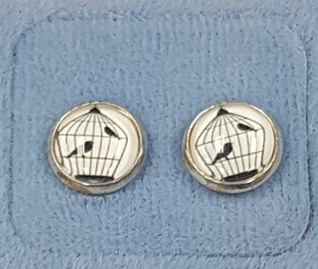 Glass Dome Earring - Black & White Bird in Cage