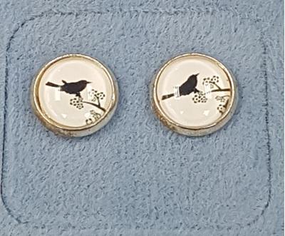 Glass Dome Earring  - Black & White Bird on Tree