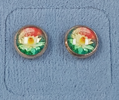 Glass Dome Earring  - Waterlilly