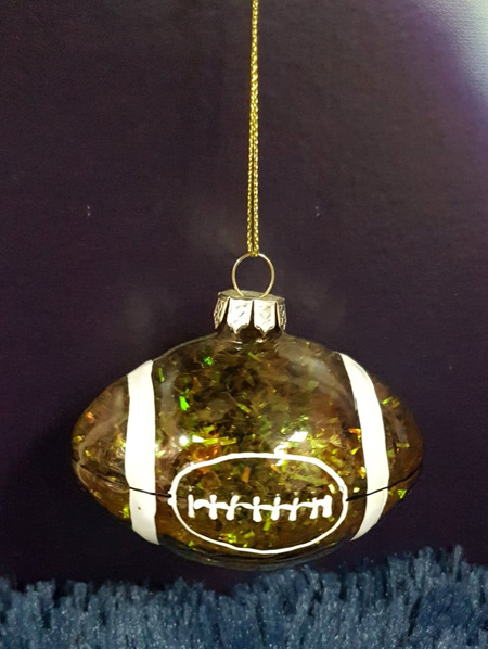 Glass Hanging Rugby Ball