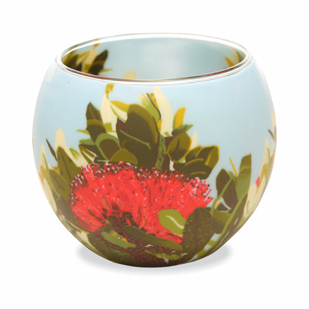 Glass Tealight Holder 11cm Pohutukawa Blush