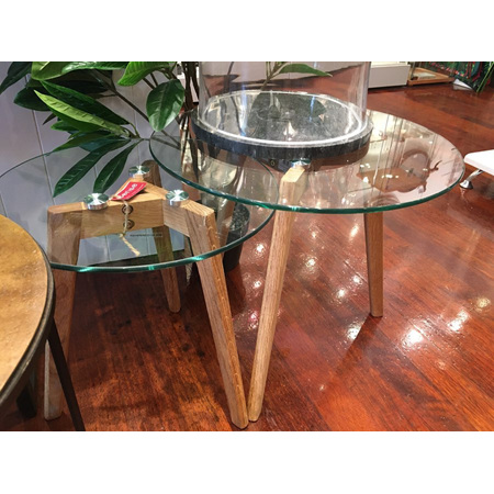 Glass top side table with Oak Legs