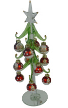 Glass Tree with Red Balls - 25cm tall