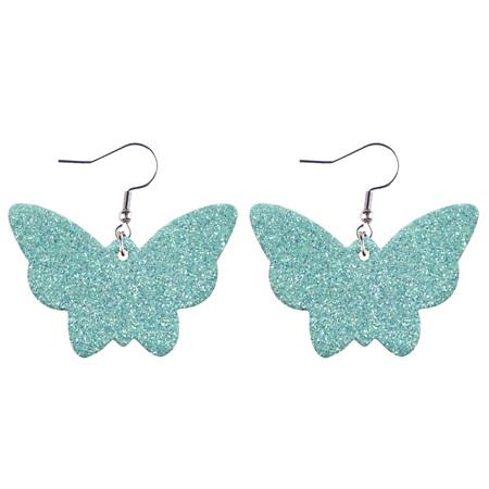 Glitter Butterfly Faux Leather Earrings - AQUA  Style 948