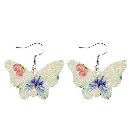 Glitter Butterfly Faux Leather Earrings - Cream  Style 1004