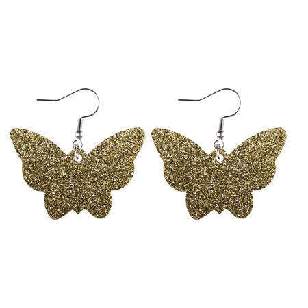 Glitter Butterfly Faux Leather Earrings - GOLD  Style 1001