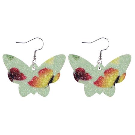 Glitter Butterfly Faux Leather Earrings - Green Style 934