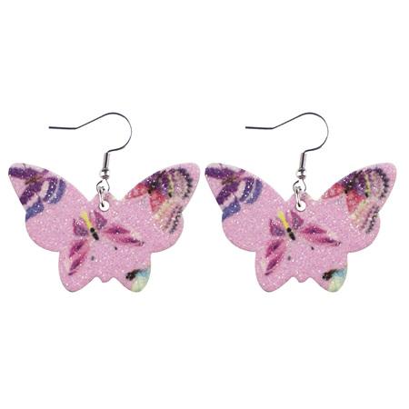 Glitter Butterfly Faux Leather Earrings - PINK  Style 953