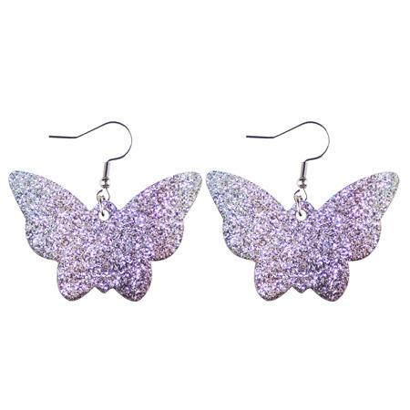 Glitter Butterfly Faux Leather Earrings - Purple  Style 1009