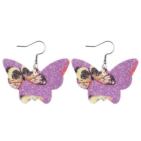 Glitter Butterfly Faux Leather Earrings - Purple Style 924