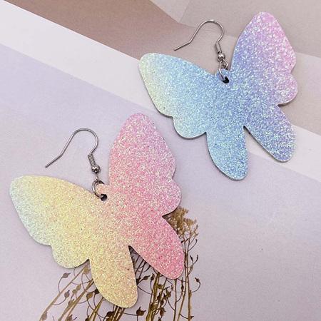 Glitter Butterfly Faux Leather Earrings - Rainbow  Style 1014