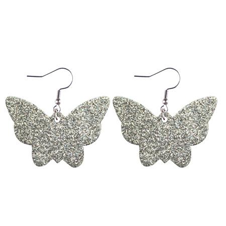 Glitter Butterfly Faux Leather Earrings - SILVER  Style 943