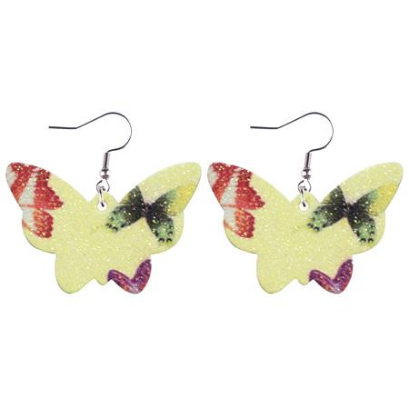 Glitter Butterfly Faux Leather Earrings - Yellow Style 940