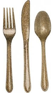 Glitter Cutlery - Gold pack of 24