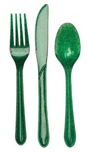 Glitter Cutlery - Green pack of 24