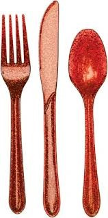 Glitter Cutlery - Red pack of 24