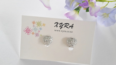 Glitter Heart Clip-on Earrings