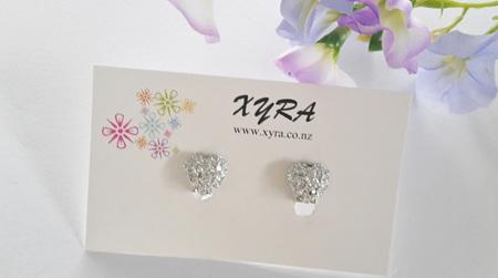 Glitter Heart Clip-on Earrings