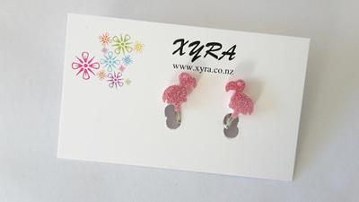 Glittering Pink Flamingo Clip-on Earrings