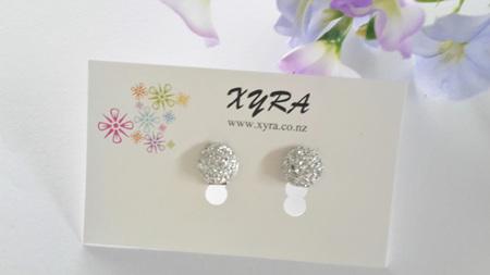 Glittering Round Clip-on Earrings